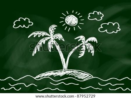 Drawing of island - stock photo