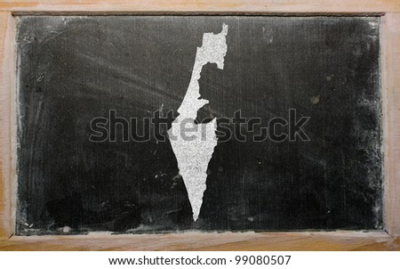 drawing of israel on blackboard, drawn by chalk - stock photo