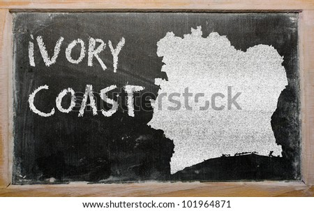 drawing of ivory coast on blackboard, drawn by chalk
