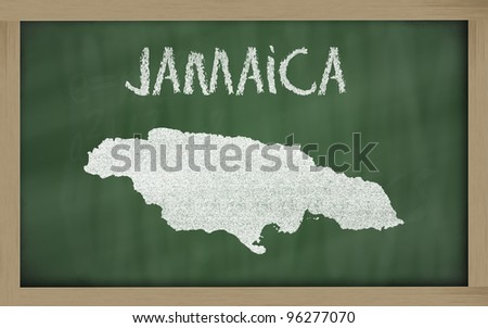drawing of jamaica on blackboard, drawn by chalk