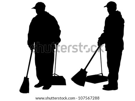 drawing of janitors in uniform with tools