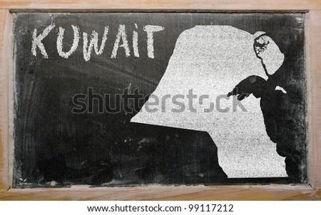 drawing of kuwait on blackboard, drawn by chalk