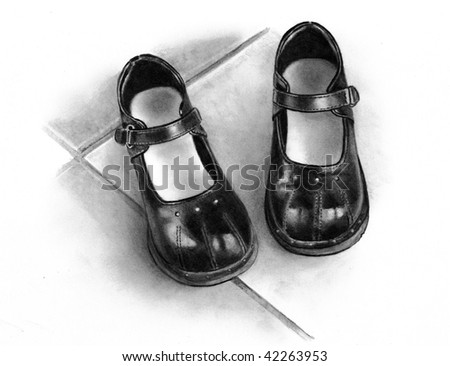 Drawing of Little Girl's Black Shoes