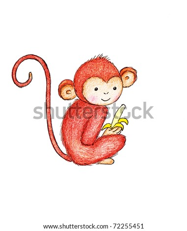 Black And White Monkey Drawing. stock photo : drawing of monkey with banana on white background