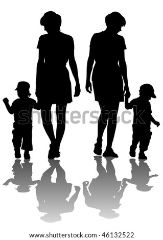 drawing of mothers with children. Silhouettes on white background