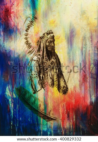 drawing of native american...