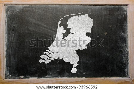 drawing of netherlands on chalkboard, drawn by chalk