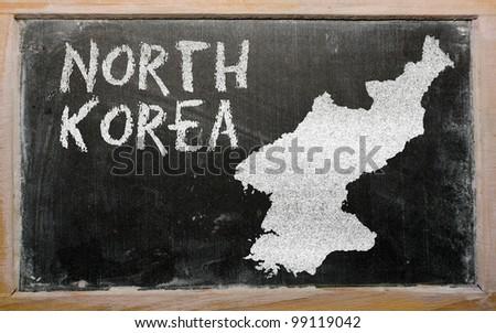 drawing of north korea on blackboard, drawn by chalk