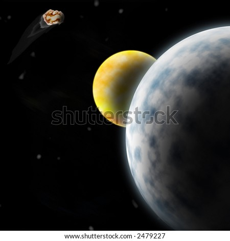 drawing of outer space two planets and an asteroid