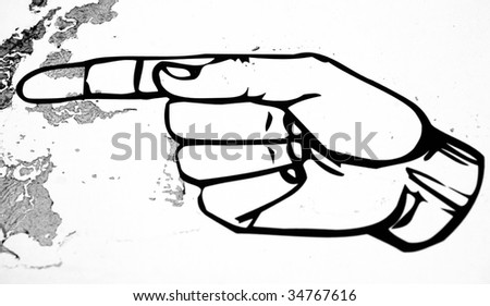 Drawing of Pointing hand on the wall