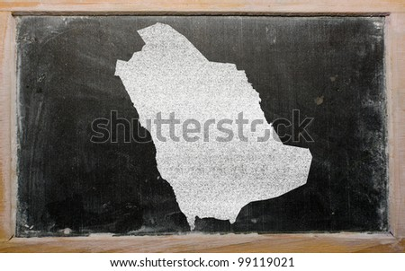 drawing of saudi arabia on blackboard, drawn by chalk