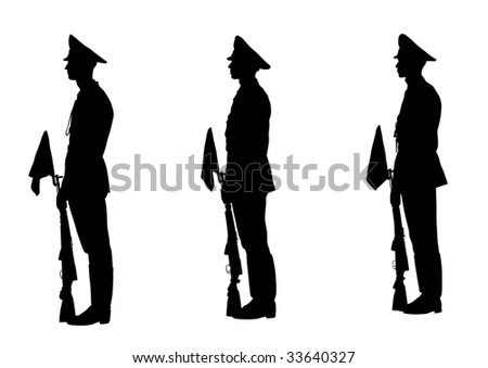 drawing of soldiers during a military parade. Silhouette on white background