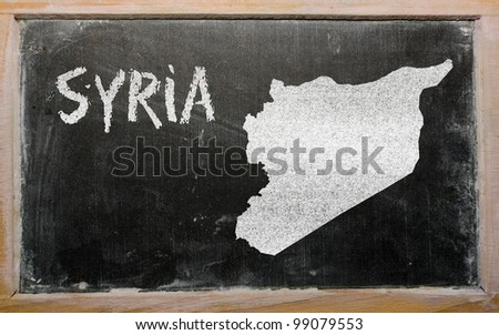 drawing of syria on blackboard, drawn by chalk