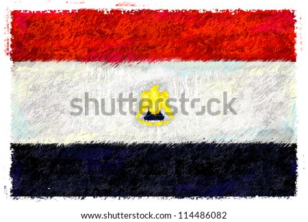 Drawing of the flag of Egypt - stock photo