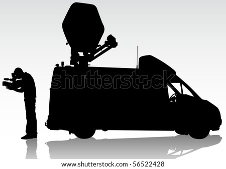 drawing of the operator with a video camera. Silhouettes on white background