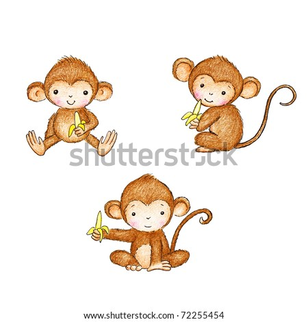 drawing of three monkeys with bananas on white background