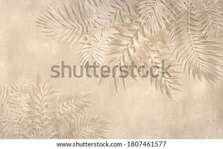Drawing of tropical leaves in the style of wall plaster. Stockfoto ©