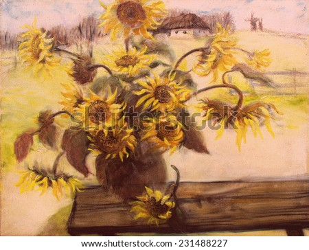 drawing oil, flowers. Sunflowers