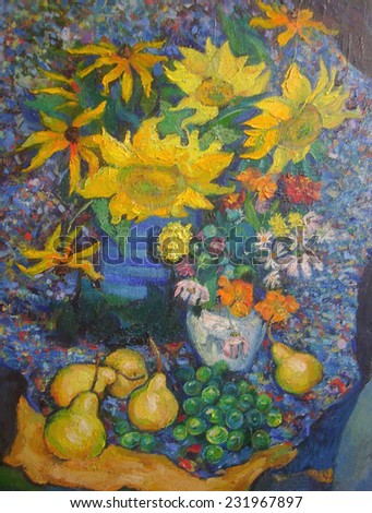 drawing oil, flowers, Sunflowers