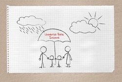 Drawing on note pad of family under the protective umbrella of universal basic income, unconditional income concept