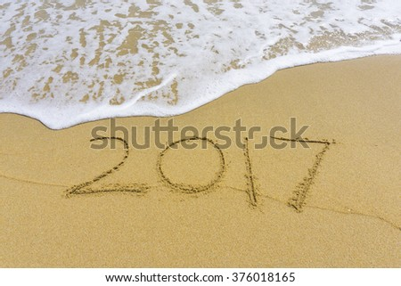 Drawing 2017 on the sand #376018165
