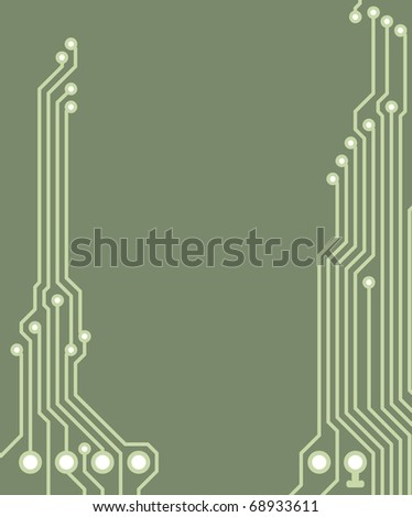 Drawing PCB (printed circuits board) - green, blank space for text