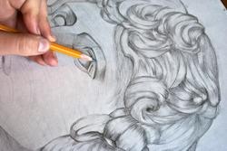 Drawing pencil ancient god statue
