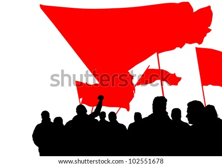 drawing people whit red banner
