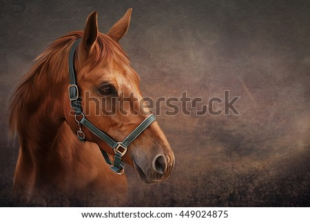 Drawing Red horse portrait oil painting on old vintage color grunge paper background