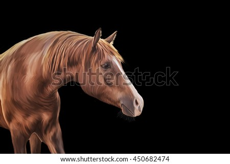 Drawing Red horse portrait on a black background #450682474