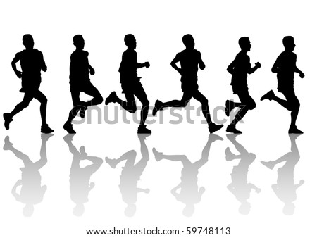 drawing running athlete man. Silhouette of sports people - stock photo