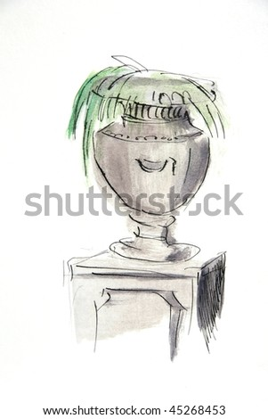 Drawing: stone vase decoration for spa - stock photo
