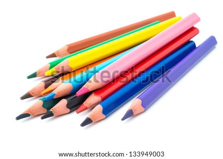 Drawing supplies: assorted color pencils, isolated on white background #133949003