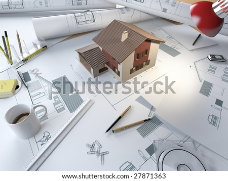 drawing table of an architect with plans and 3d model of a house
