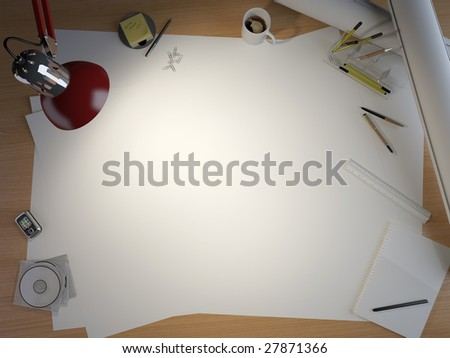 drawing table with lots of elements and a centered copy space for your own design