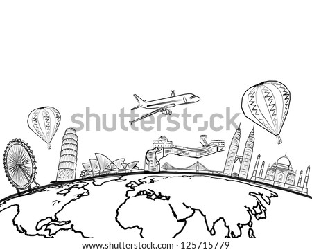 free photos drawing the dream travel around the world in a