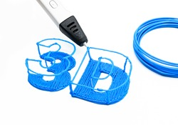 Drawing three-dimensional 3D creature by 3D pen and rolled blue filament