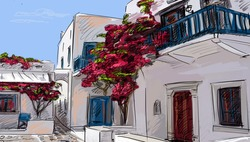Drawing to the greek town