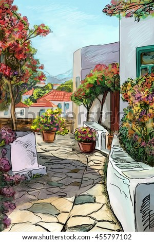 Drawing to the greek town - illustration #455797102