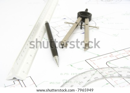 drawing tools with a technical print background