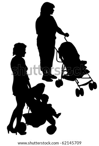 drawing two mother with children. Silhouettes on a white background