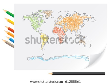 the world map in color. the world map in color. stock