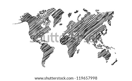 drawing world map on white background