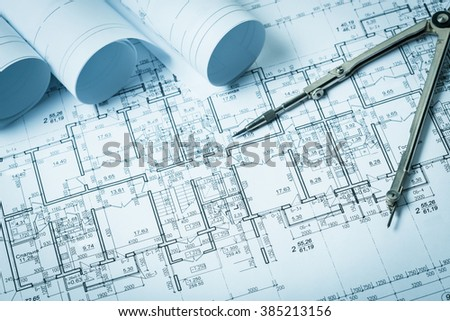 Drawings, blueprints close up #385213156