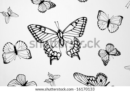 stock photo Drawings of butterflies in different sizes