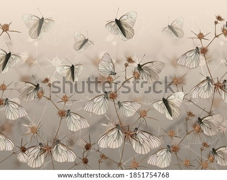 Drawn butterflies on thorns. Wall mural, wallpaper, in the style of classic, baroque, modern, rococo. Brown photo wallpaper design.