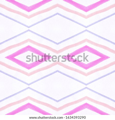 Drawn by Brush Mexican Pattern. Seamless Bohemian Stripes. Pink Ethnic Ornament. Mexican Pattern. Organic African Tile. Rhombus Chevron. Rhombus Shapes. Ikat Print. Mexican Pattern.