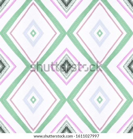 Drawn by Brush Mexican Pattern. Seamless Watercolour Squares. Pink Aztec Ornament. Mexican Pattern. Organic American Print. Rhombus Texture. Rhombus Textile. American Design. Mexican Pattern.