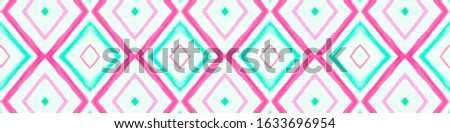 Drawn by Hand Mexican Pattern. Seamless Watercolor Stripes. Green Ethnic Ornament. Mexican Pattern. Fashion Ikat Design. Rhombus Textile. Rhombus Chevron. Tribal Background. Mexican Pattern.