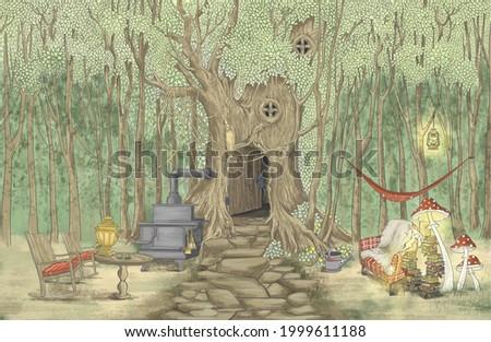 Drawn children's book illustration. Beautiful children's design for postcards, card, wallpaper, photo wallpaper, mural. Design for children, nursery, teenage room.